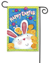 Bunny With Chicks Easter Garden Flag by BreezeArt