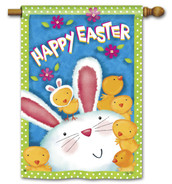 Bunny With Chicks Easter House Flag by Breeze Art