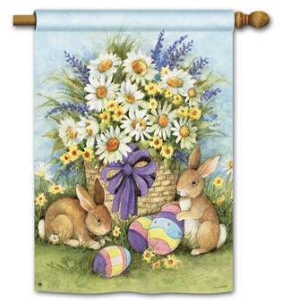 Breeze Art Easter Bunnies And Flowers House Flag