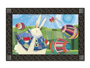 Bunny door mat with tray by Robin Rawlings