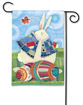 Bunny With Easter Eggs BreezeArt Garden Flag