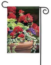 Breeze Art geranium and hummingbird decorative garden flag