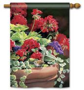 Breeze Art geranium and hummingbird decorative house flag