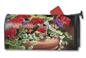 Red geraniums and hummingbird Mailwraps magnetic mailbox cover