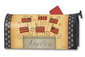 Folk art patriotic Mailwrap Mailbox Cover