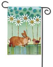 Breeze Art Adorable Bunny And Bird Garden Flag