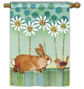 Breeze Art Decorative Bunny With Bird And Daisies House Flag