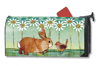 Mailwraps Magnetic Mailbox Cover with bunny and bird