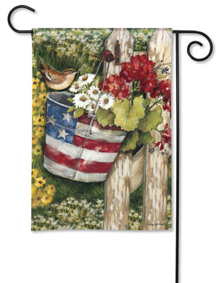Charming Patriotic Pail With Bird And Flowers Garden Flag by Breeze Art