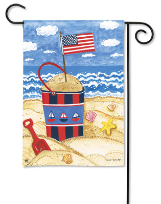 Breeze Art Garden Flag Beach Scene With American Flag