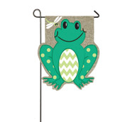 Frog flag and soft burlap fabric