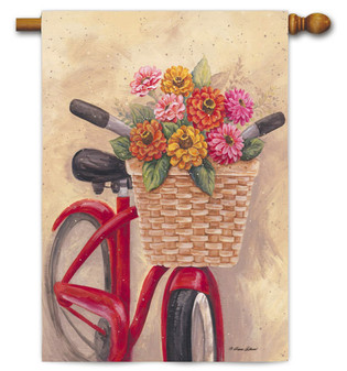 Decorative house flag with red bicycle