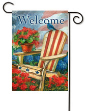 Patriotic Chair With Bluebird Garden Flag by Evergreen