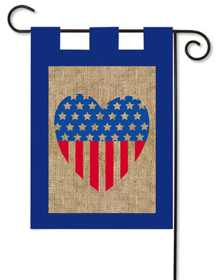 Burlap Stars And Stripes Heart Garden Flag by Evergreen