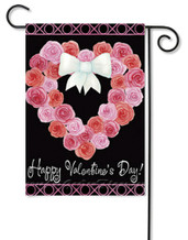 "Valentine Wreath Garden Flag by Premier Flags - 12.5"" x 18"" - 2 Sided Message"