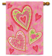 """Lovely Hearts Valentine House Flag by Toland - 28"""" x 40"""""""