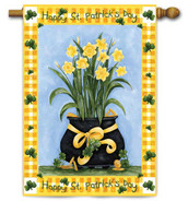Pot of Daffodils House Flag by Toland