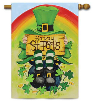 Leprechaun St. Pat's House Flag by Toland