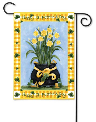 Pot of Lucky Daffodils Garden Flag by Toland