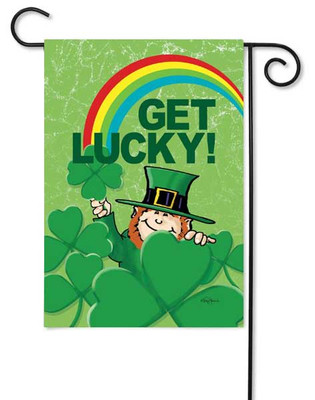 Lucky Leprechaun and Rainbow Garden Flag by Toland
