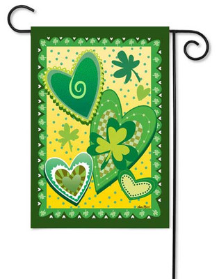Patterned Hearts and Shamrock Garden Flag by Toland