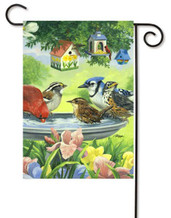 Birds With Birdbath Garden Flag by Toland