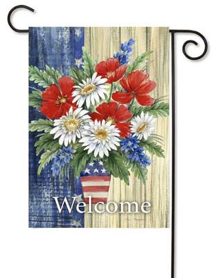 Patriotic Flower Bouquet Garden Flag by Toland