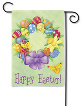 Easter Egg Wreath With Chick Garden Flag by Premier