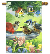 Toland Decorative House Flag with Birdbath