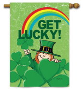 Leprechaun and Rainbow Toland St. Pat's House Flag