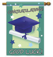 "Good Luck Graduate House Flag - 28"" x 40"""