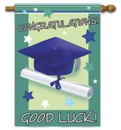 "Good Luck Graduate House Flag - 28"" x 40"""