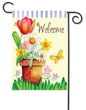 "Potted Welcome Toland Garden Flag - 12.5"" x 18"""