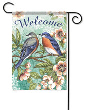 Bluebirds decorative garden flag