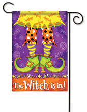 Halloween garden flag embellished with glitter.
