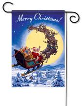 Santa sleigh garden flag