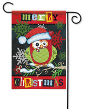 Christmas owl garden flag