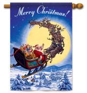 Santa sleigh house flag