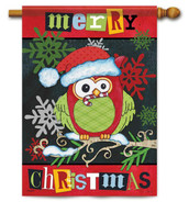 Christmas owl house flag