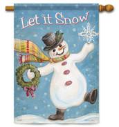 Snowman winter house flag