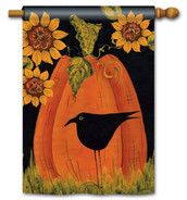 Folk art fall house flag