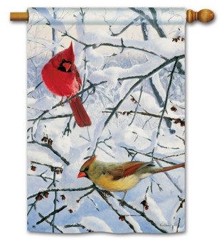 Winter cardinals house flag