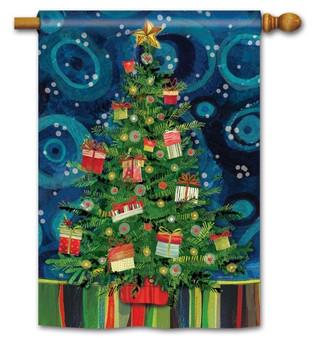 Christmas tree house flag