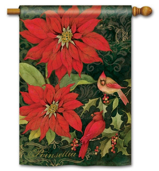 Cardinals and poinsettias house flag