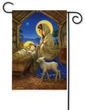 Christmas nativity garden flag
