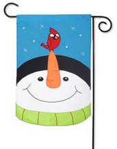 Snowman applique garden flag