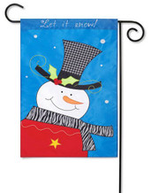 Snowman applique garden flag