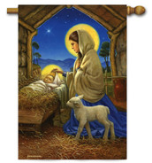 Christmas nativity house flag