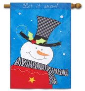 Snowman applique house flag