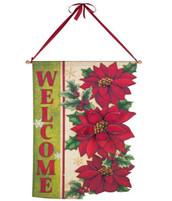 Welcome Poinsettia Door Banner
